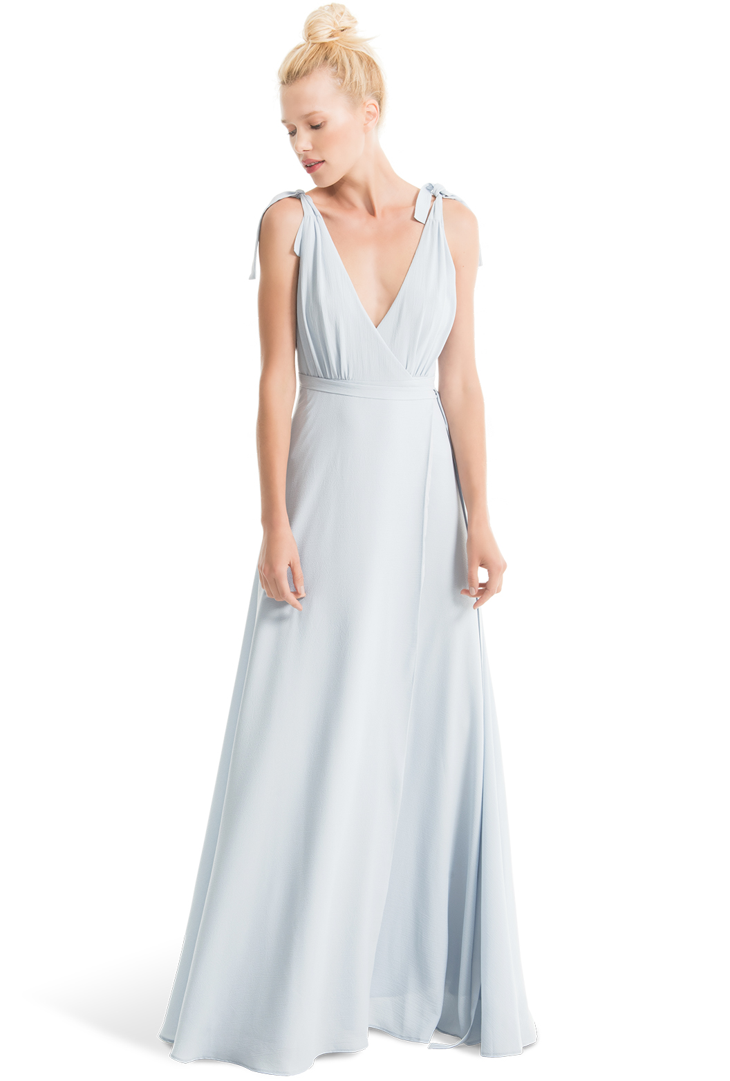 Anna Long in cloud light blue crepe by Joanna August Bridesmaids