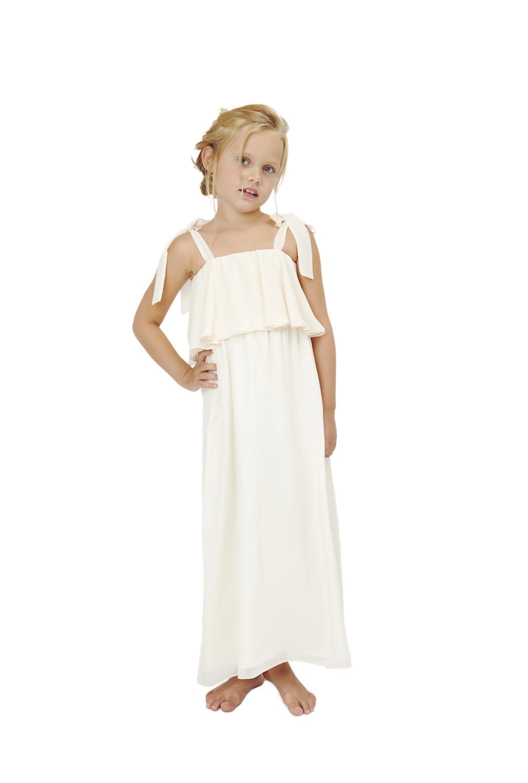 Savannah flower girl dress by Joanna August Babes of the Nile in ivory