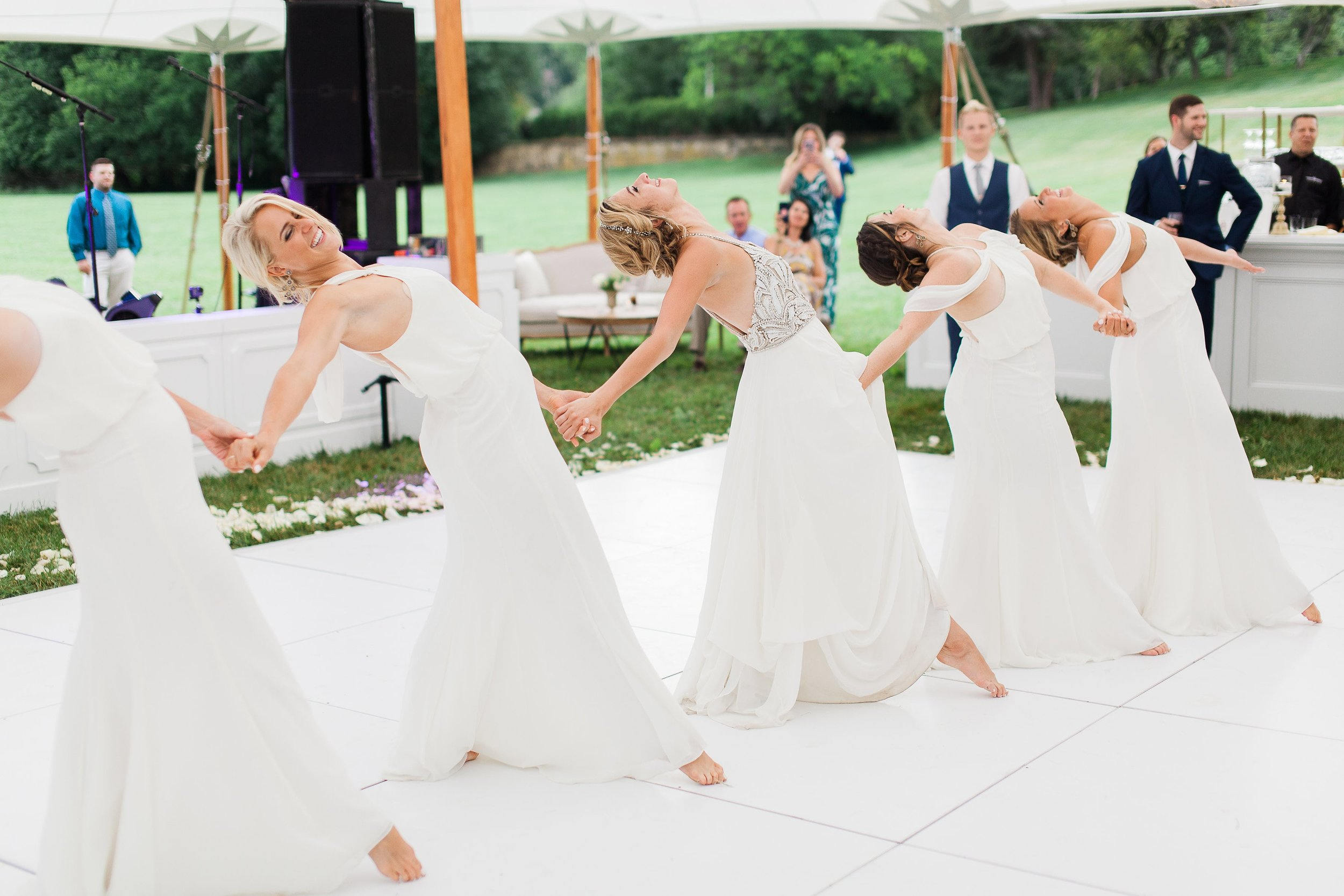 Bridesmaids perform Dirty Dancing in Watters Gowns