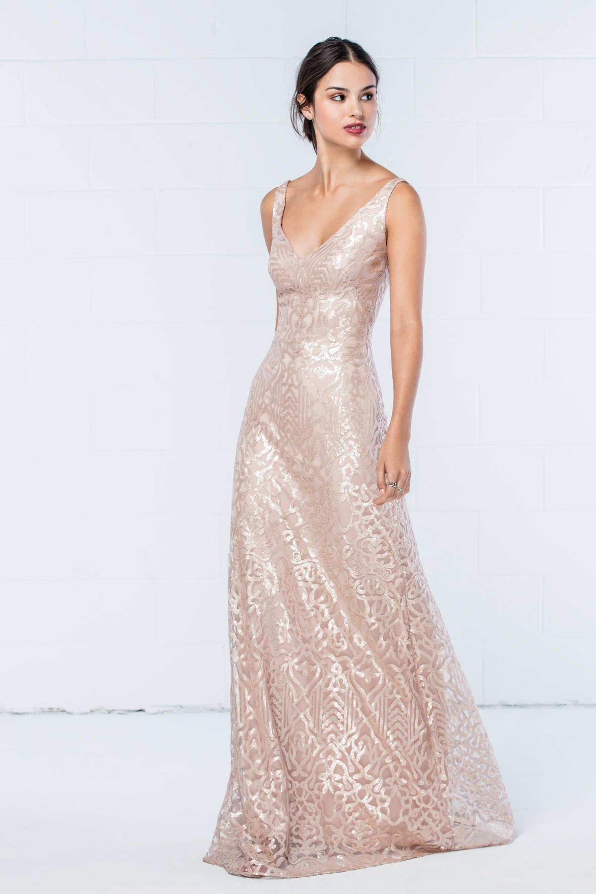 WTOO bridesmaids style 350 with v neck and back in Talisa Sequin