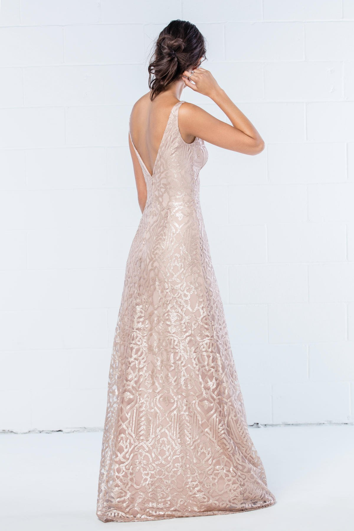 WTOO by Watters Bridesmaids style 350 in Talisa sequin latte