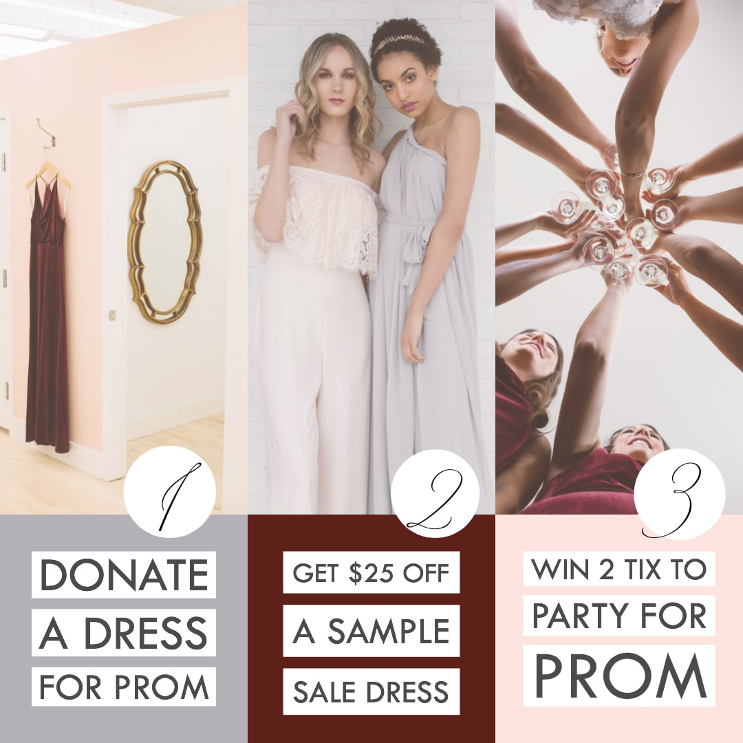 Donate a dress for prom, get a discount sample sale dress, and win tickets to Party for Prom