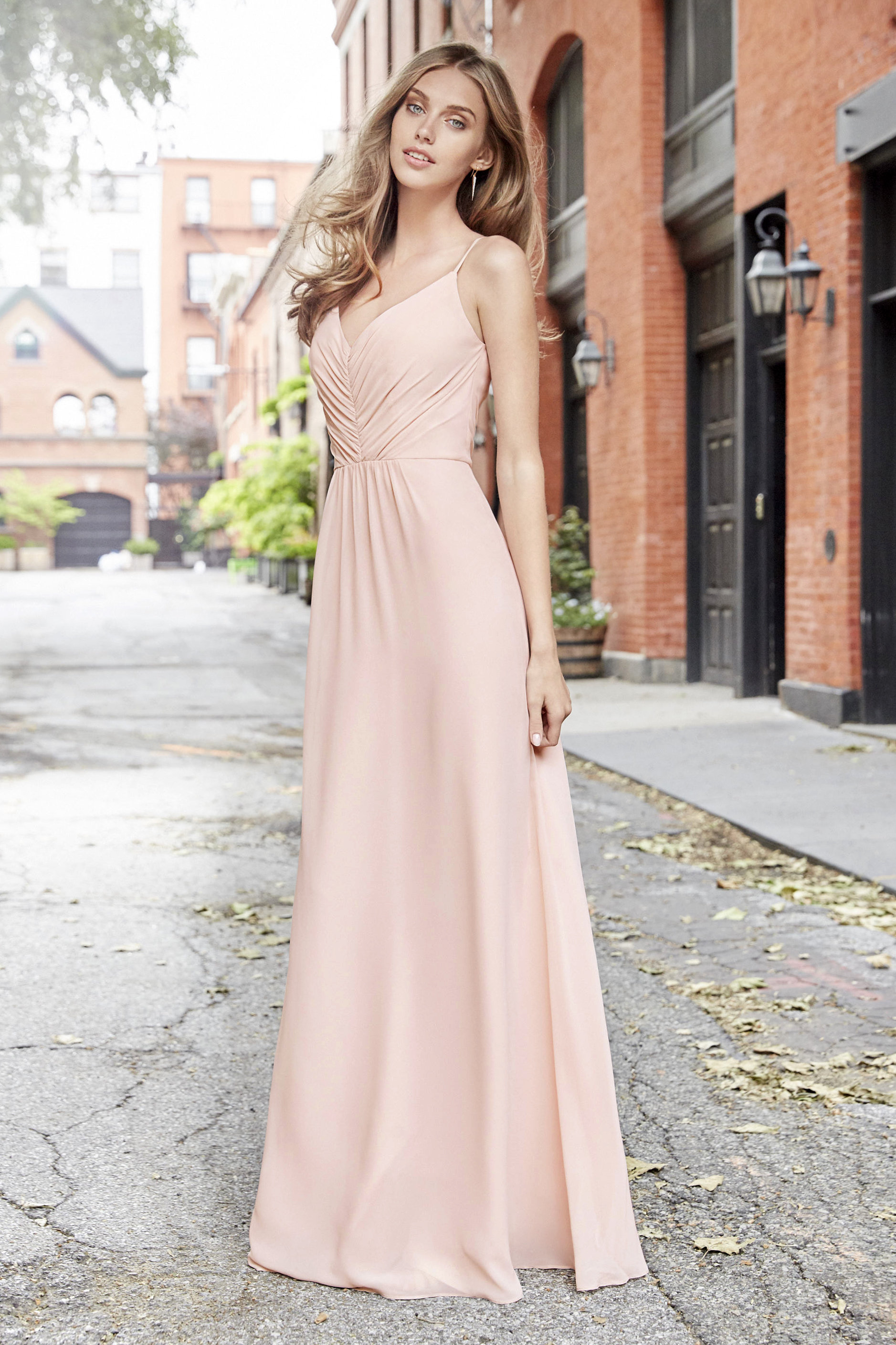 Style 5763 classic Hayley Paige look in blush chiffon