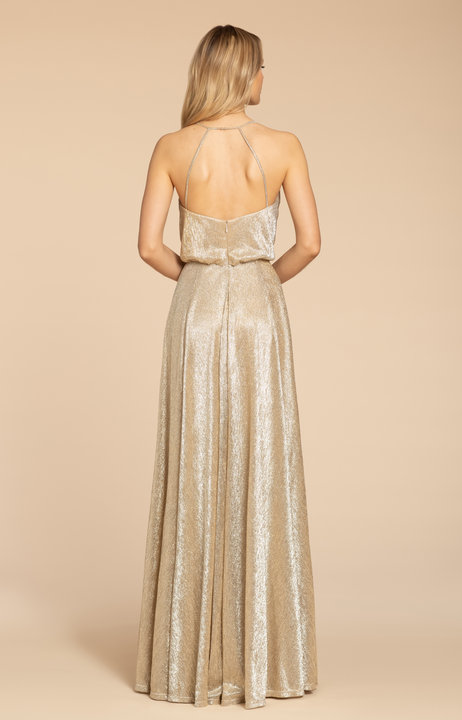 Back of style 5953 in Gold liquid metallic by Hayley Paige Bridesmaids