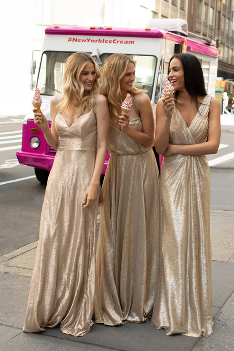 Copy of Gold liquid metallic styles 5953 and 5954 from Hayley Paige Bridesmaids