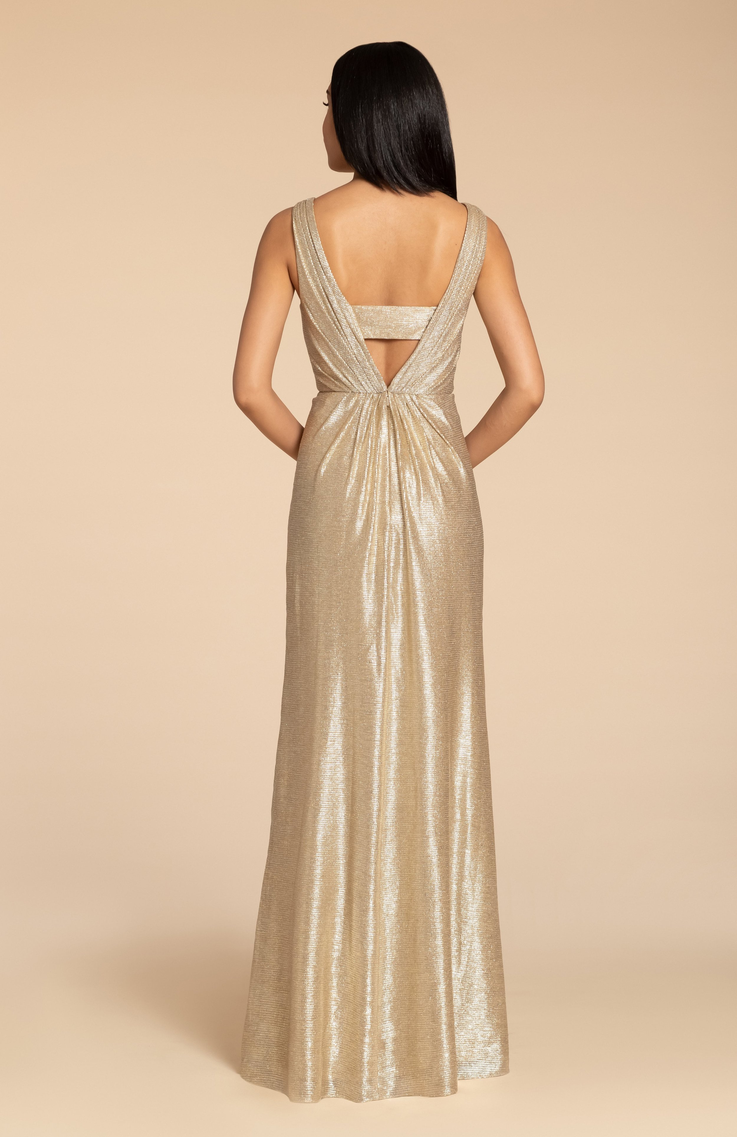 Back of style 5954 in Gold liquid metallic by Hayley Paige Bridesmaids