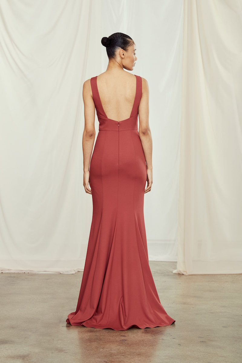 Back of style GB108P James in Cayenne crepe by Amsale Bridesmaids