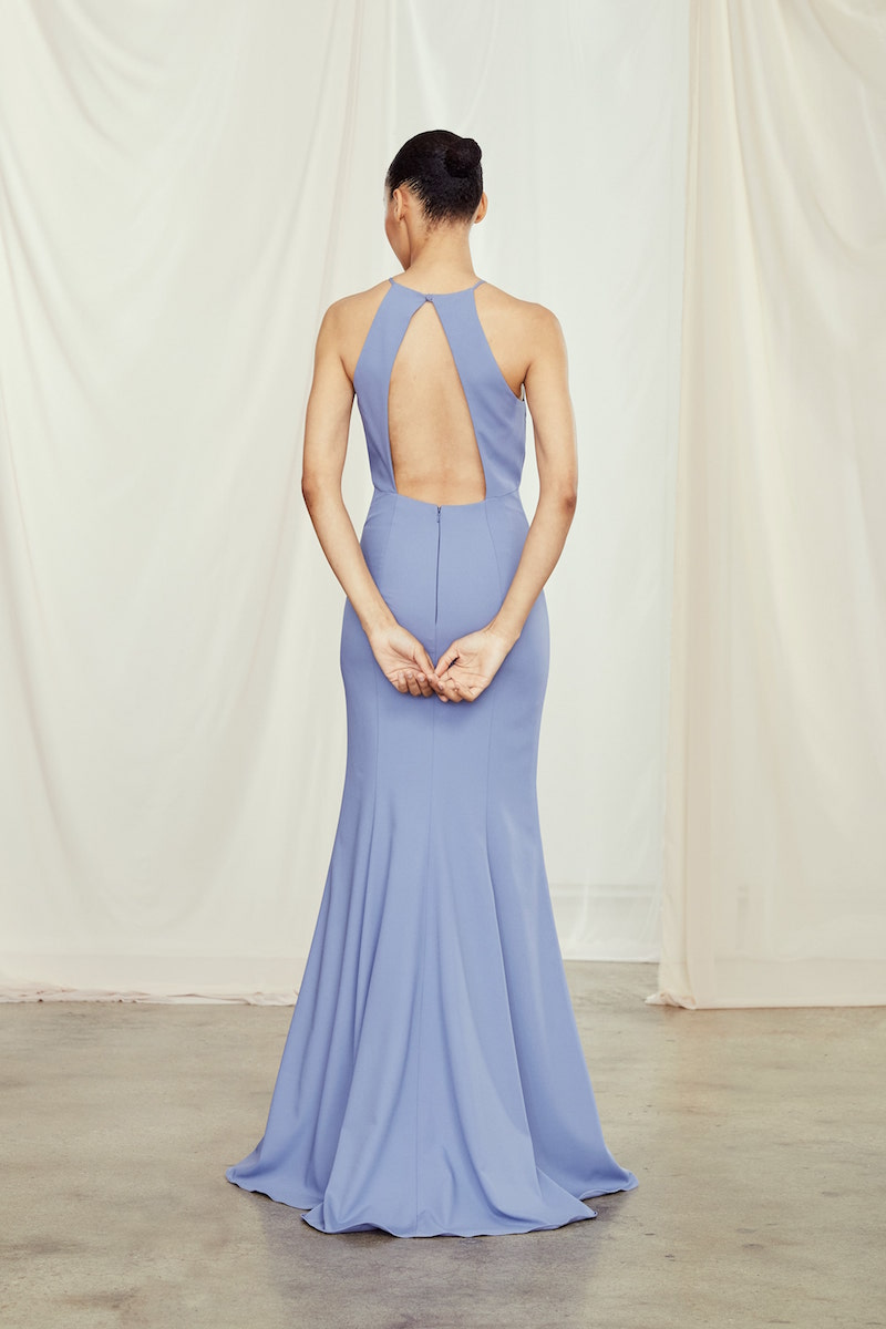 Back of style GB109P Ryland in Slate crepe by Amsale Bridesmaids