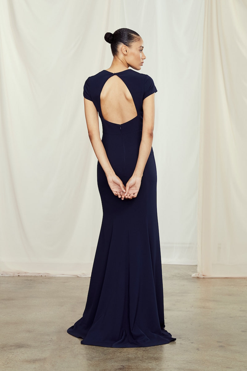 Back of style GB111P Harlee in Navy crepe by Amsale Bridesmaids