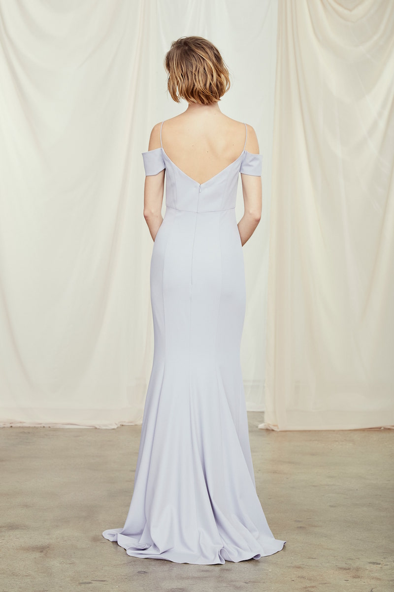 Back of style GB107P Sienna in Platinum crepe by Amsale Bridesmaids