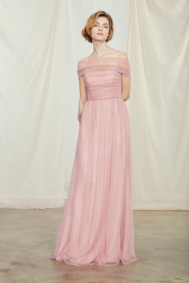 Shane by Amsale Bridesmaids in Rose tulle