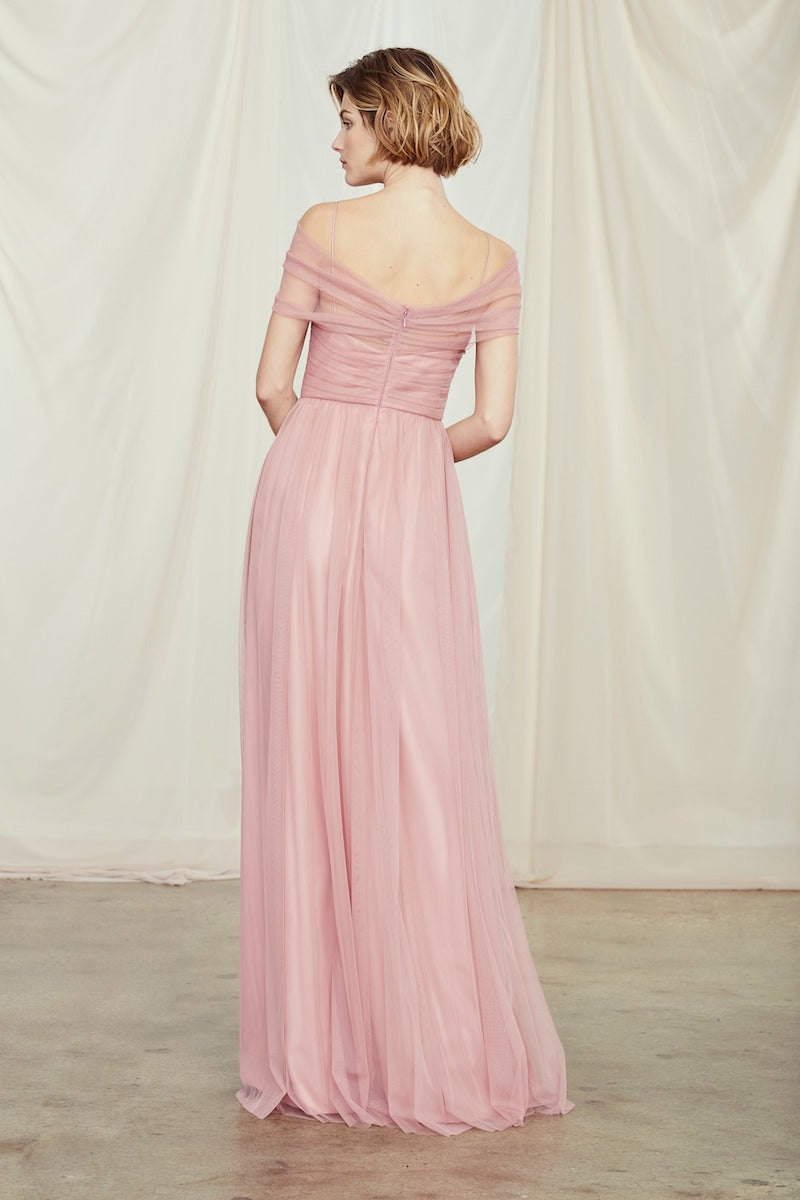 Back of style GB114U Shane in Rose tulle by Amsale Bridesmaids