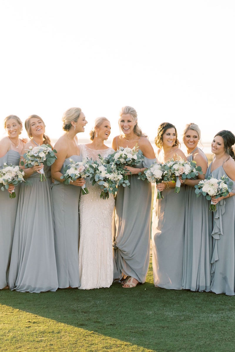 Theia bridesmaid dresses in stone chiffon at Gilded Social