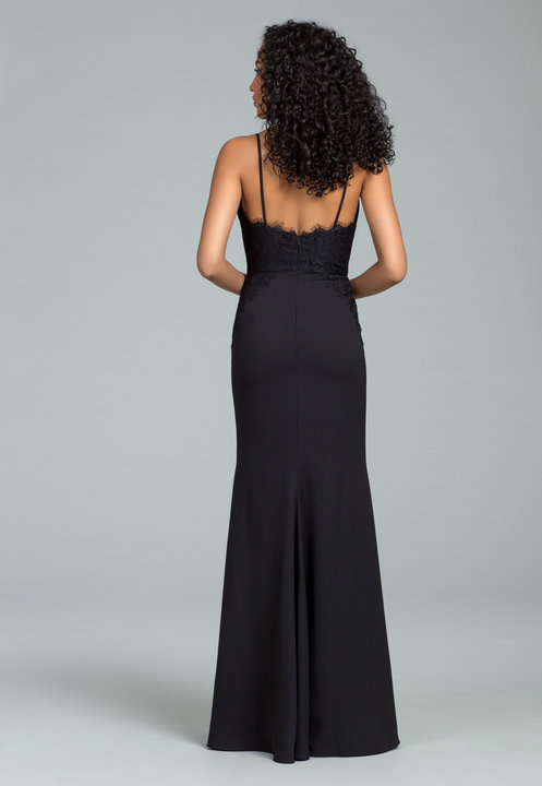 Back lace detail of crepe dress by Hayley Paige Bridesmaids style 5814