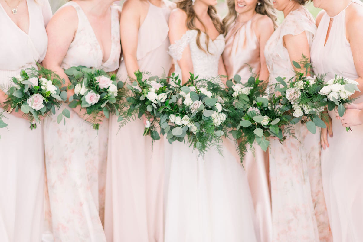 Jenny Yoo, WToo, and Nouvelle Amsale Bridesmaids in blush mix and match
