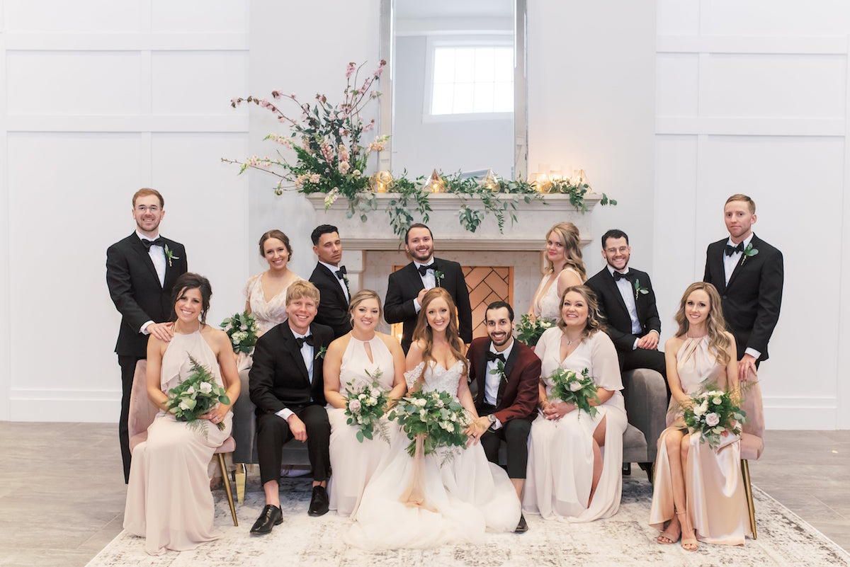 Mix and match bridesmaids in blush tones at The Estate at New Albany