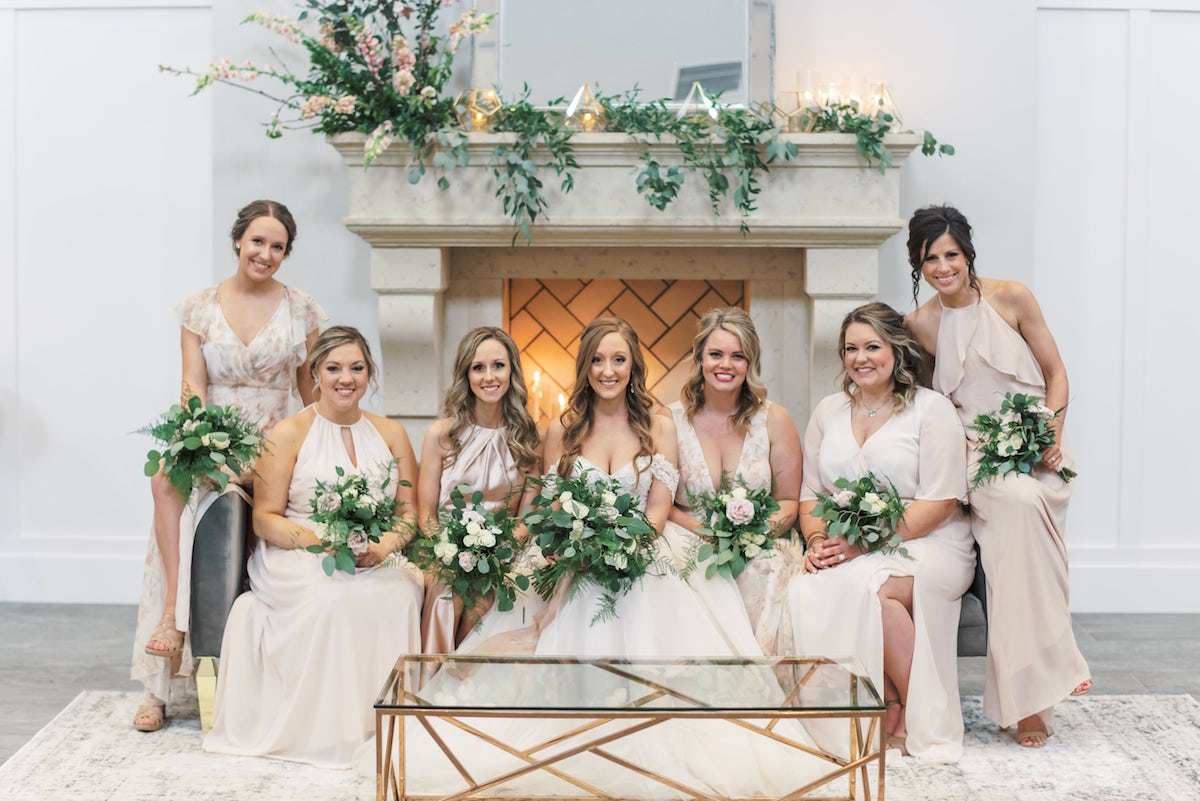 Blush mix and match bridal party in Columbus Ohio