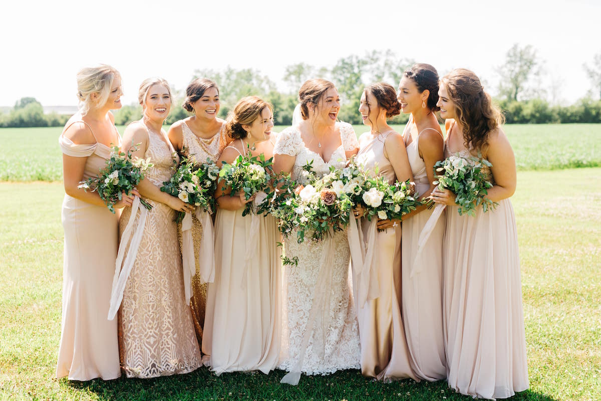 Rose Gold Neutral Mix and Match Bridesmaids in Columbus Ohio