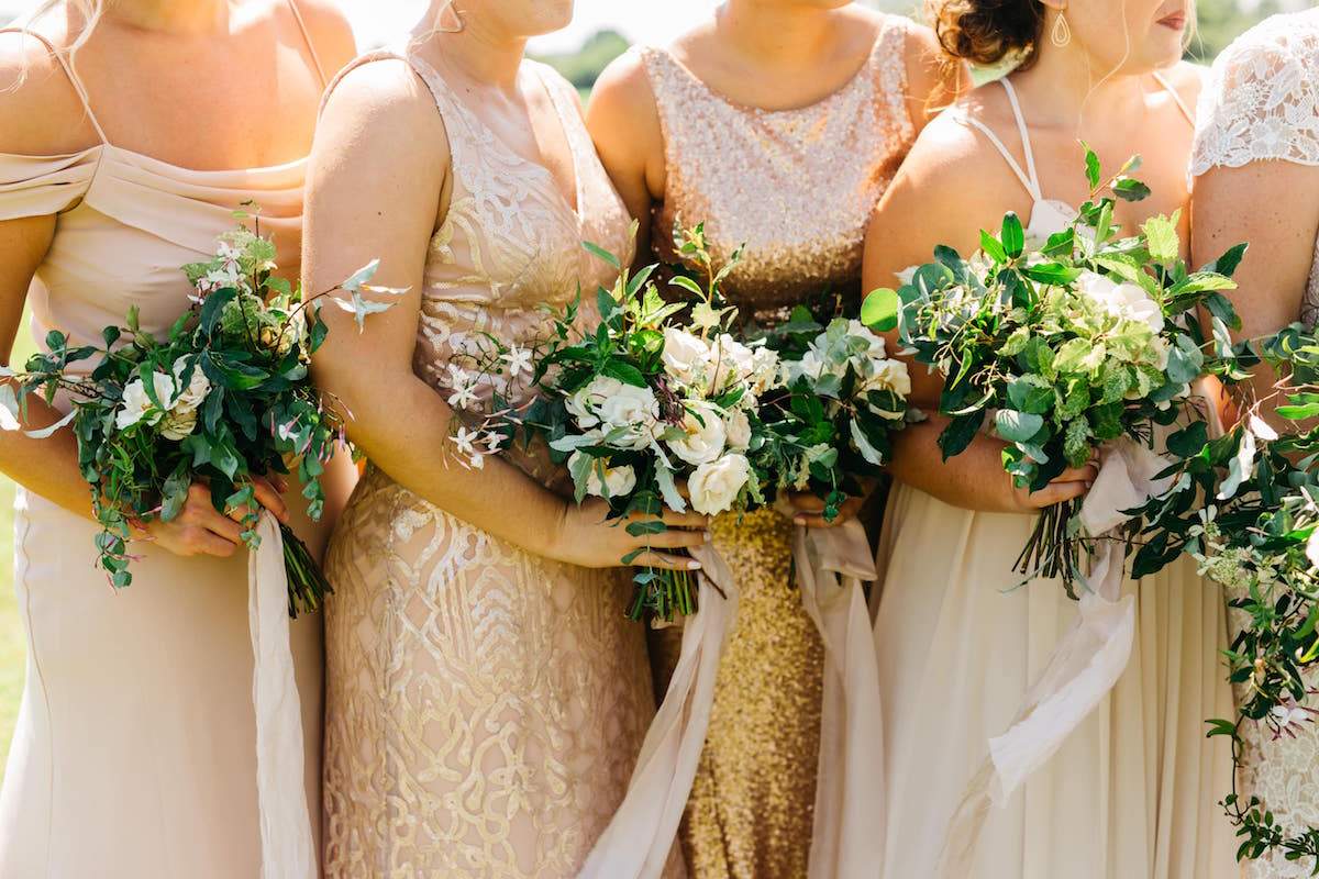 Jenny Yoo, Watters, Theia, Hayley Paige Mix and Match Bridesmaids in Blush neutral bridal party