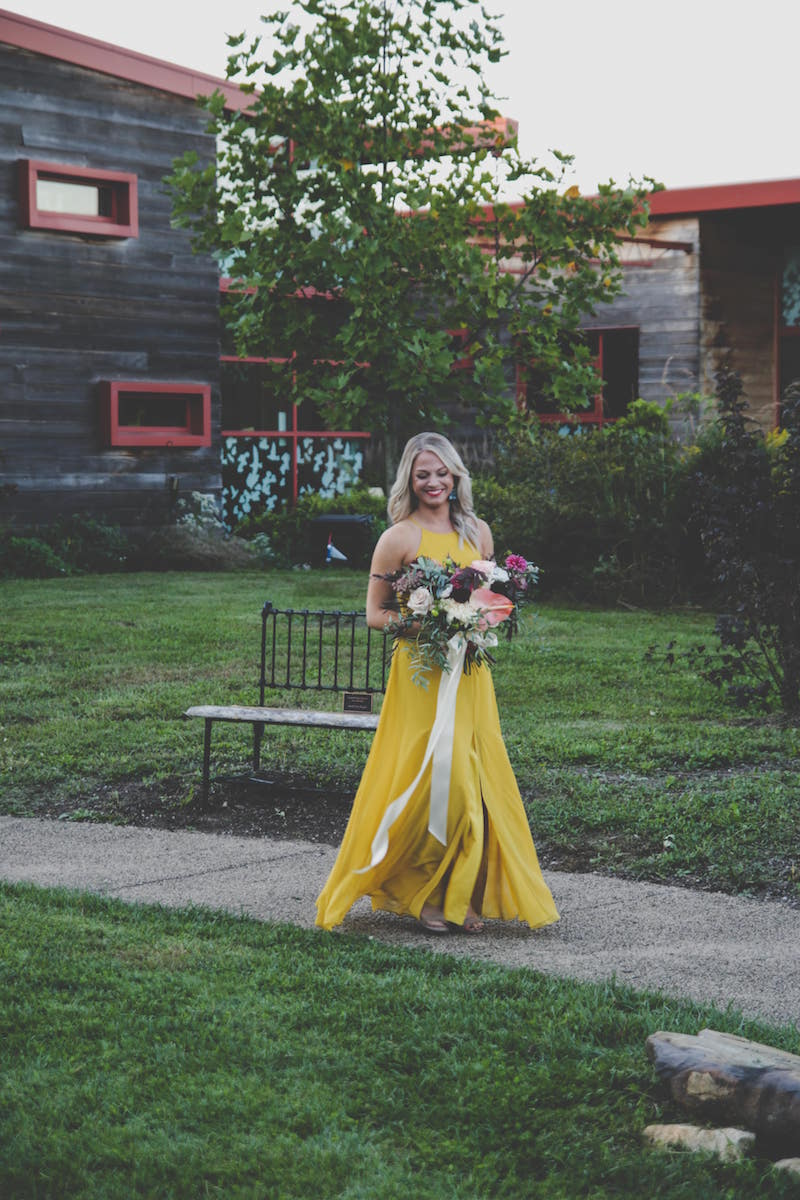 Kayla in Chartreuse mustard color at a fall wedding
