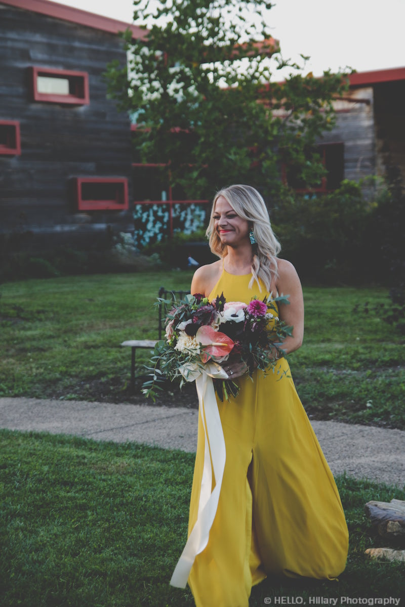 Chartreuse mustard yellow color bridesmaid dress by Jenny You style Kayla