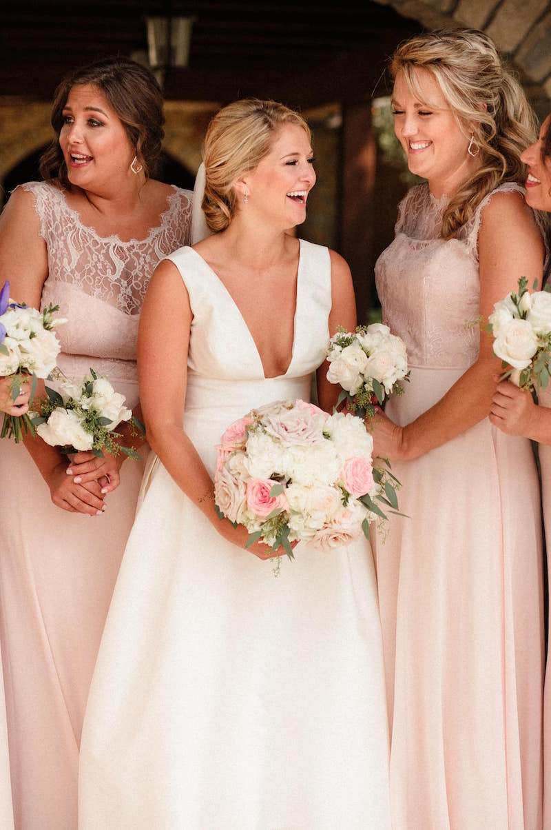 Blush bridesmaid dress by Hayley Paige style 5756