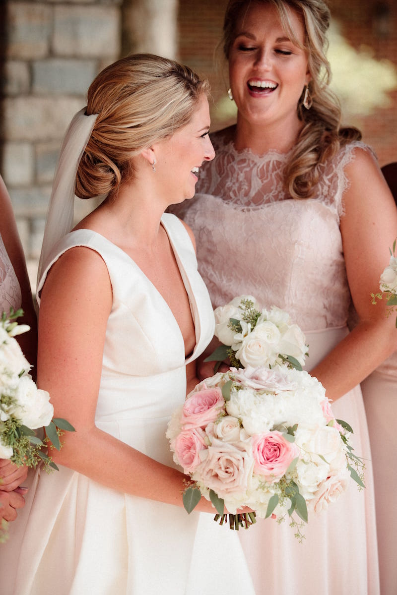 5756 style in blush lace and chiffon by Hayley Paige bridesmaids