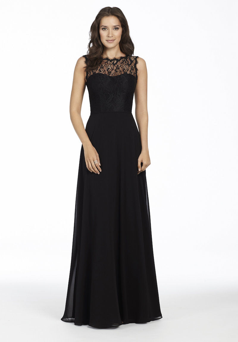 5756 style in black lace and chiffon by Hayley Paige Occasions