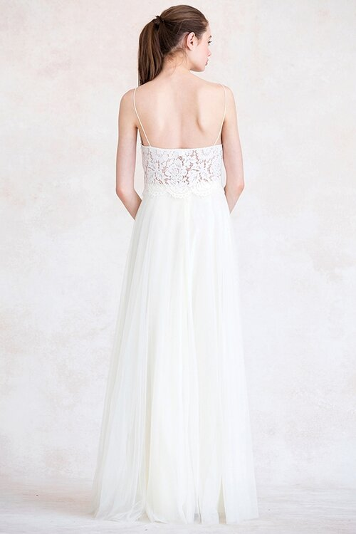 Back of soft tulle skirt in cream by Jenny Yoo Bridesmaids