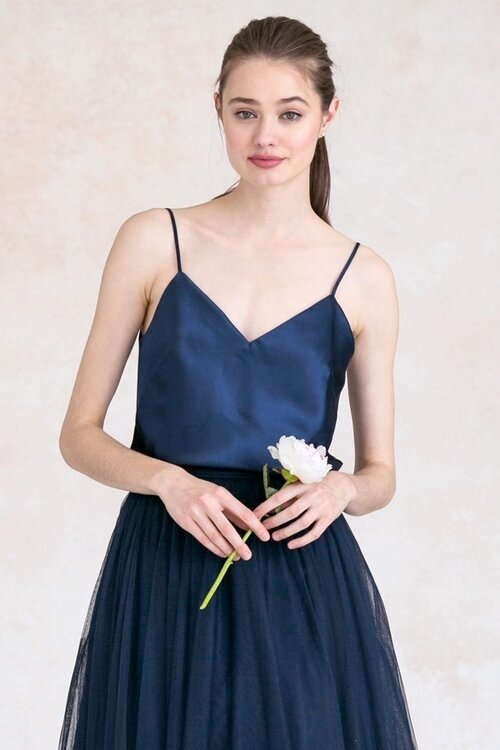 Laurel camisole by Jenny Yoo in navy paired with tulle skirt