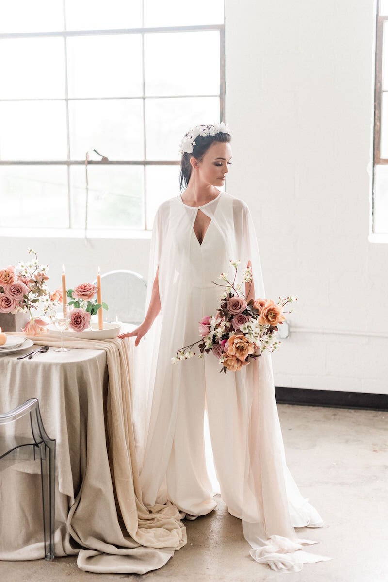 LW136 jumpsuit featured in modern romantic styled shoot with Brittney Atwood