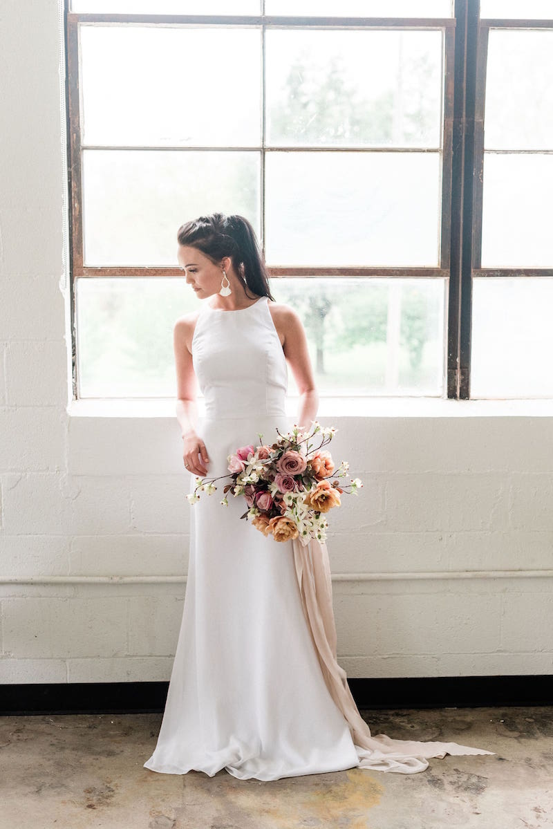Casual bride wearing Hayley Paige Occasions style 5714