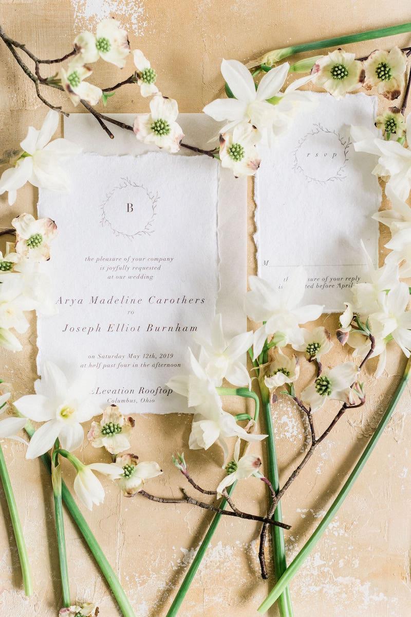 Invitation flat lay by Auburn and Ivory