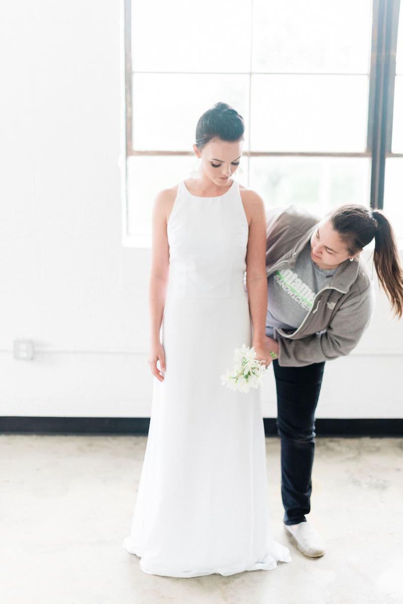 Behind the scenes at modern romantic wedding shoot