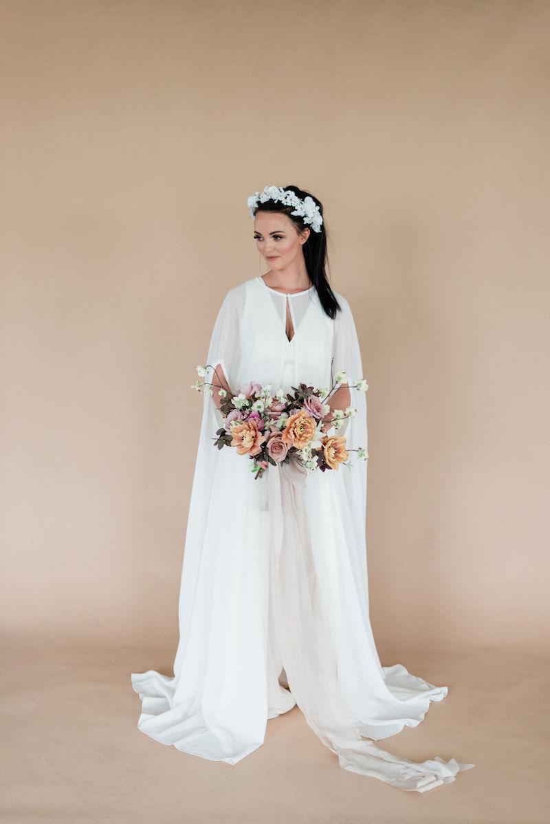 Amsale Little White Dresses jumpsuit featured in modern romantic shoot