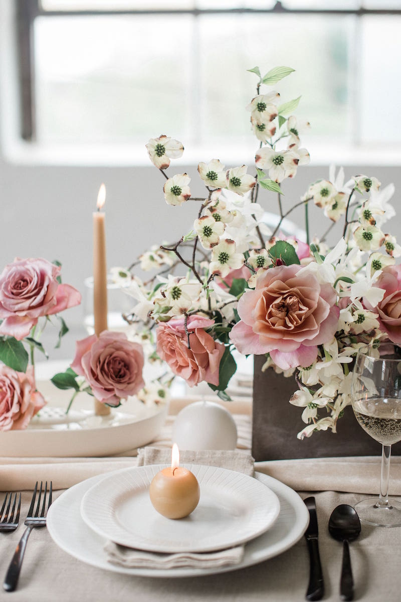 Tablescape at style shoot in Columbus Ohio with Gilded Social
