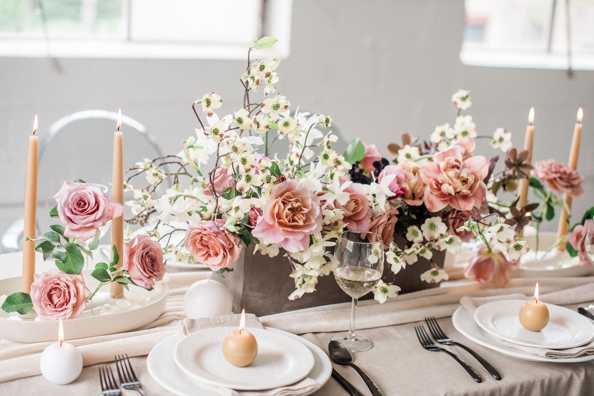 Old Slate Farm florals featured in styled shoot in Columbus Ohio