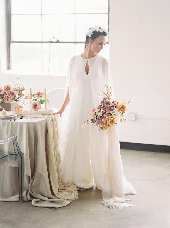 Sweet bride in jumpsuit by Amsale Little White Dresses