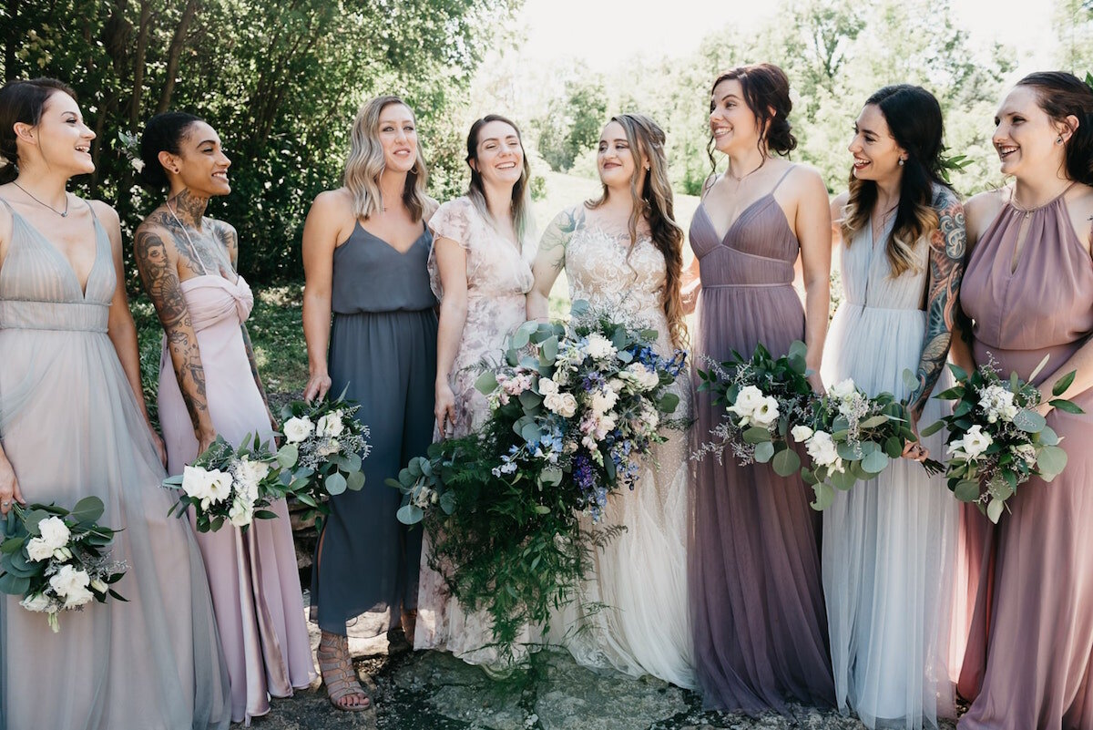 Purple and blue mix and match bridal party
