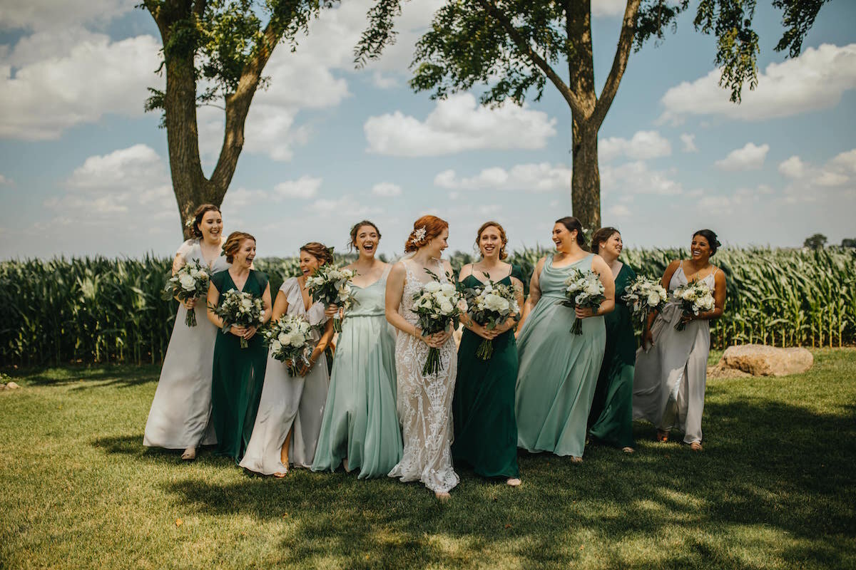 Green and Gray mix and match bridal party featuring Jenny Yoo and Joanna August