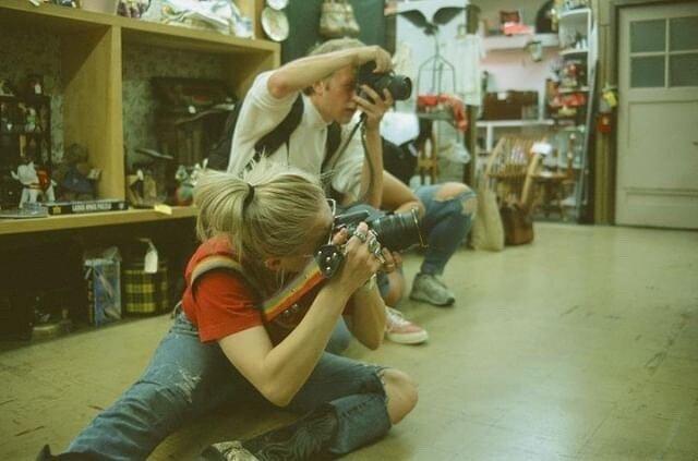 film photo by bear - raina, eric, and ashley hiding behind him