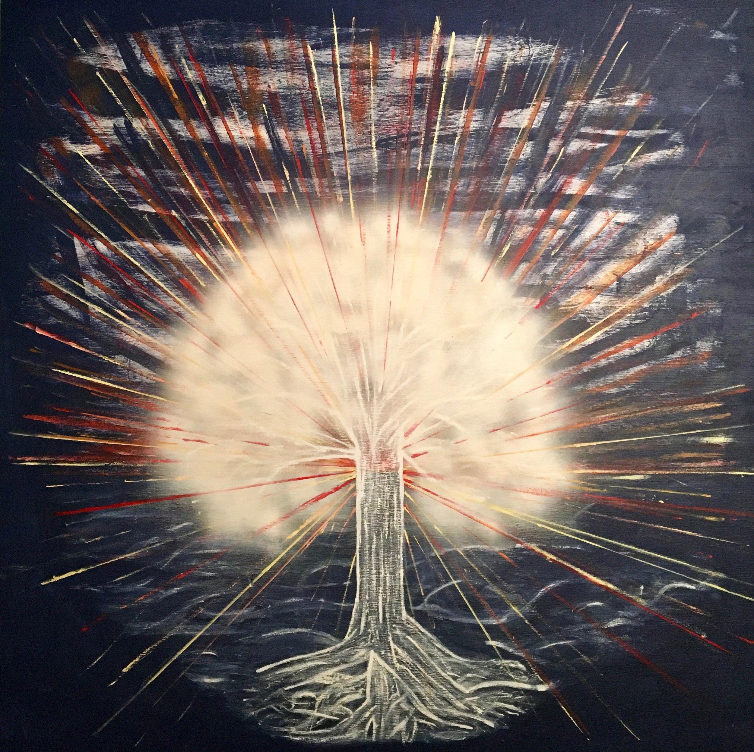 TREE OF LIGHT - Paint on 4x4 Wood Panel by Aaron Berg