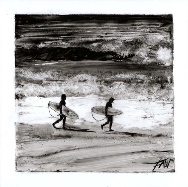 Lighthouse beach surfers