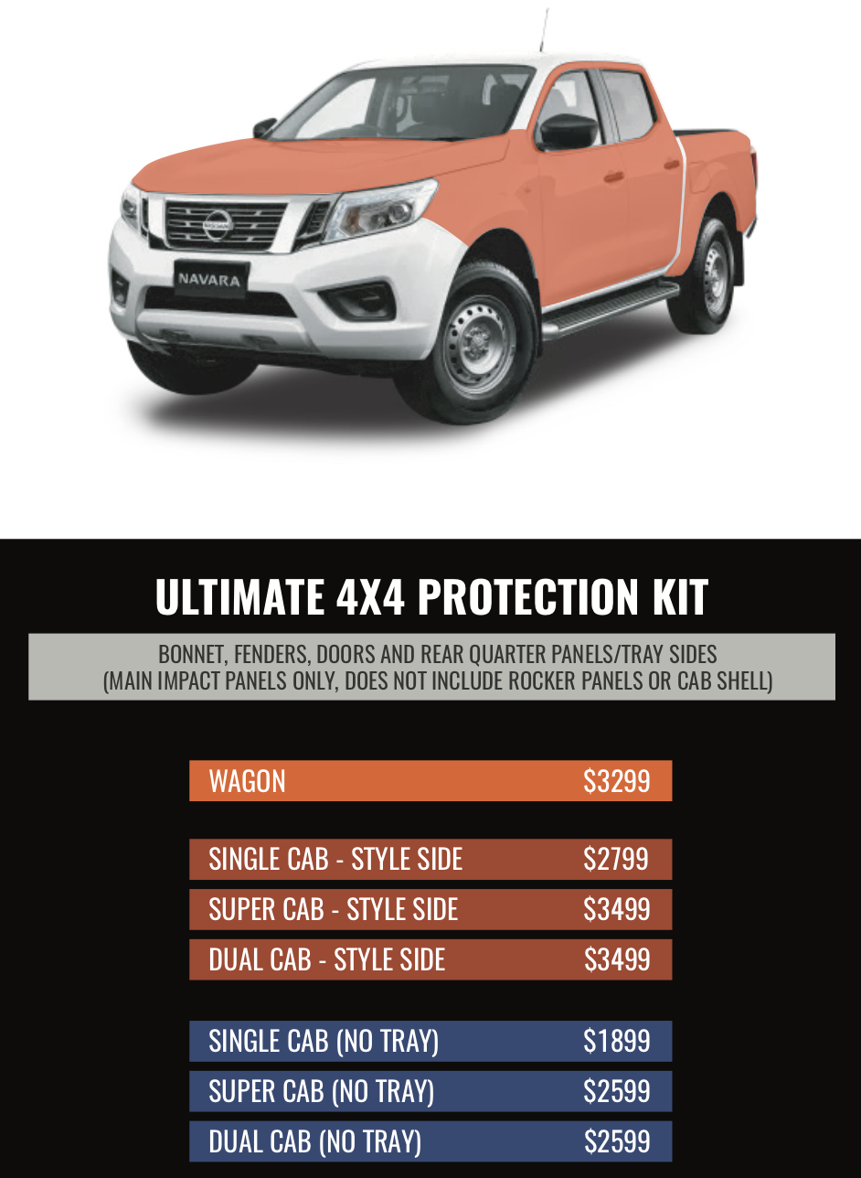 ULTIMATE 4X4 PROTECTION KIT - Everything to protect you from Pin-Stripes plus complete Bonnet protection!This is the ultimate wear kit suited to most customised Four Wheel Drives. If you are running a bullbar and roof racks you don't need to pay for whats already covered. Stick to the crucial areas and protect your bonnet and sides.