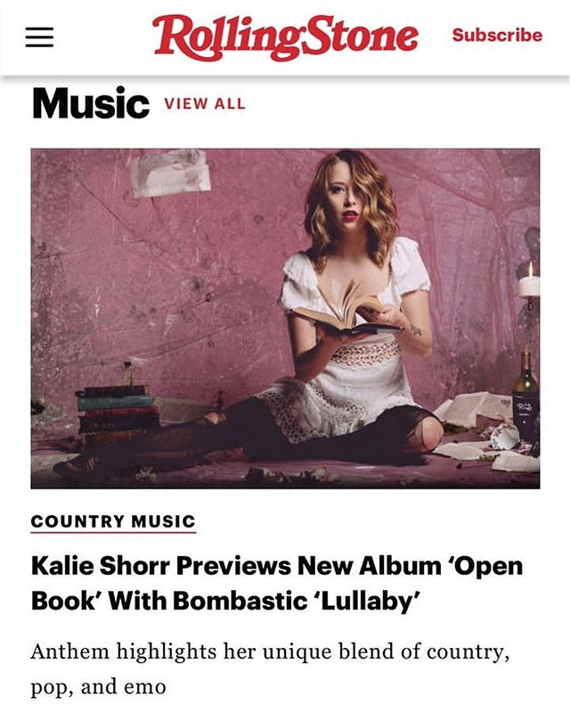 "Amazing article in Rolling Stone about Kalie Shorr's new song ""Lullaby"" on her upcoming album, 'Open Book' that was produced by our very own, Skip Black! #RollingStone #Lullaby #OpenBook"