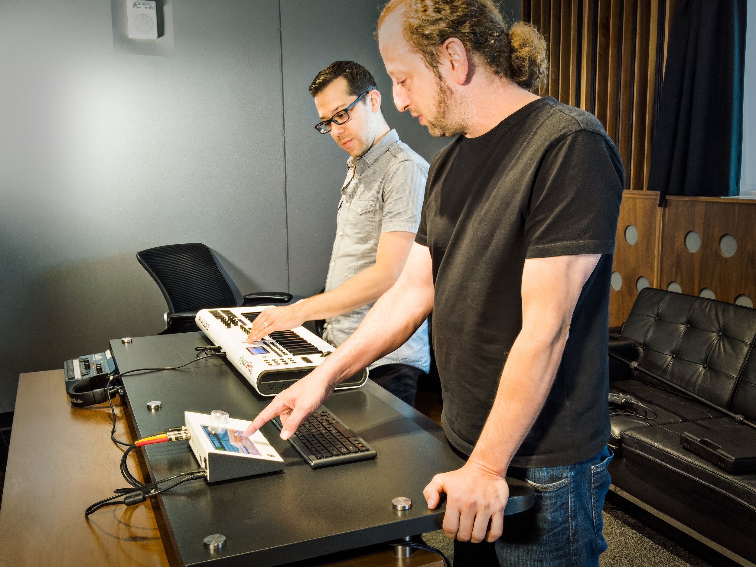 Vince and our friend  Jason Wexler  mid session. Jason's instrument keyboard is connected via USB while Vince is using both the touch screen and a Bluetooth remote keyboard.