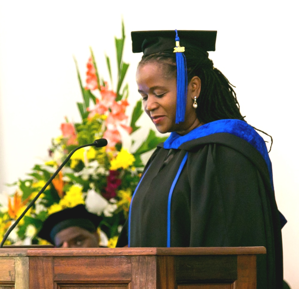 Patricia addressing the graduating Class of 2018 as valedictorian