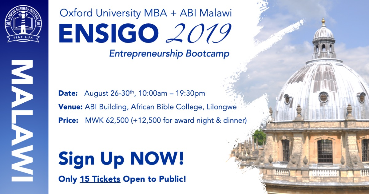 ENSIGO Bootcamp - August 26-30th, 10:00am – 19:30pm @ ABI Malawi, African Bible College Campus, Lilongwe, MalawiPrice: MWK 62,500 (+12,500 to attend Pitch Night & Dinner)