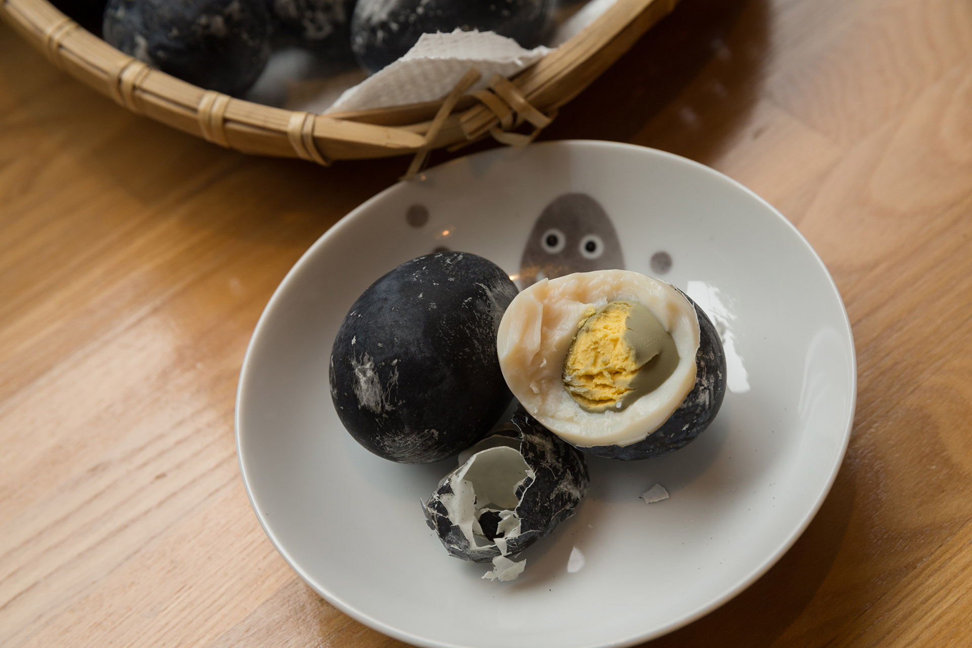 Eggs turned black from boiling in the Kuroyu Hot Spring      (source)