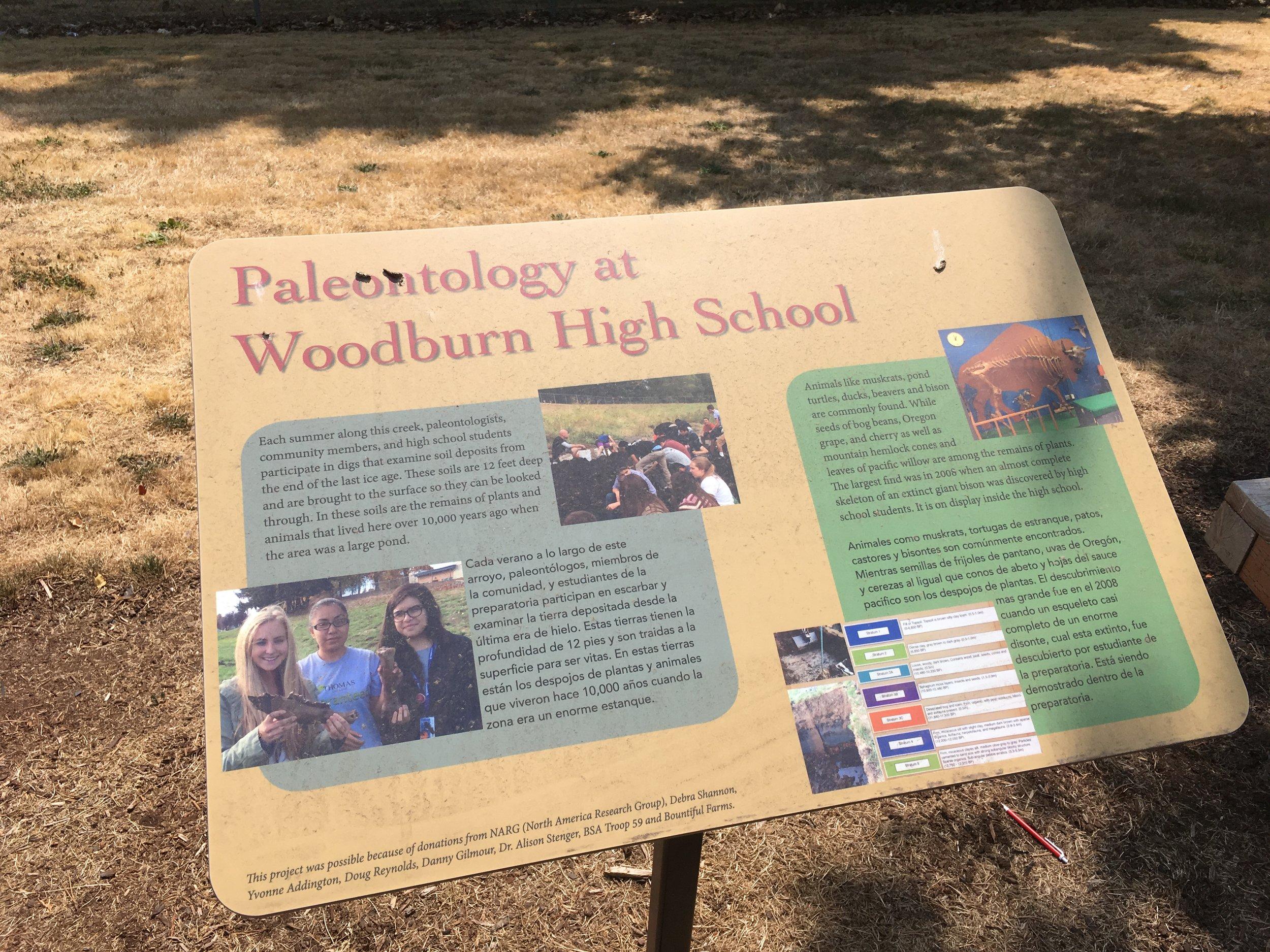 Paleontology Sign in Woodburn, OR